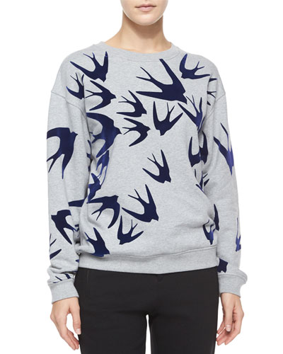 Swallow-Print Sweatshirt, Gray