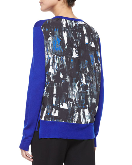 Crewneck Sweater Top W/ Printed Back