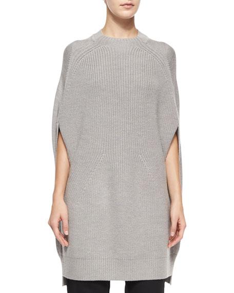 McQ Alexander McQueenCrewneck Multi-Gauge Wool Cape
