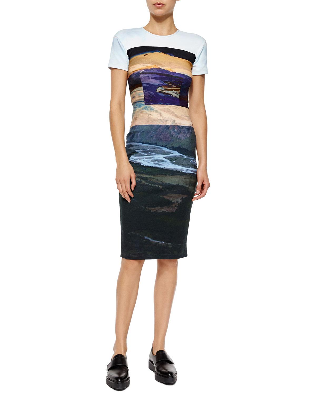 McQ Alexander McQueenShort-Sleeve Landscape-Print Body-Conscious Dress 089c8a0c0