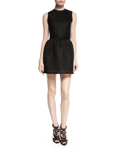 McQ Alexander McQueen Mesh Volume Party Dress, Black