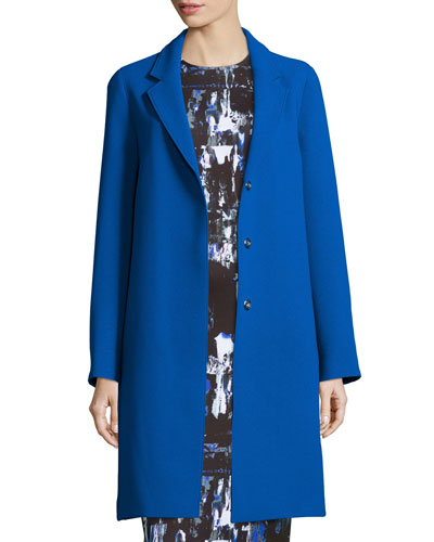 Boyfriend Long-Sleeve Coat, Cobalt