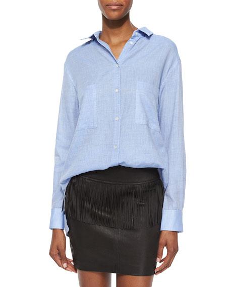 Iro Andrea Long-Sleeve Button-Front Cotton Top