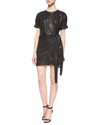 Abigail Leather Wrap Dress