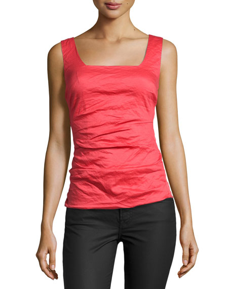 Stacey Ruched-Front Top, Watermelon