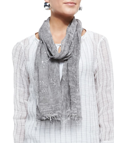 Tinted Encrusted Sparkle Scarf, Pewter