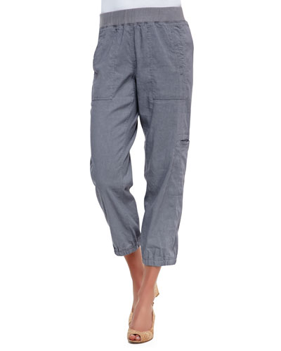 Cargo Linen-Blend Ankle Pants, Pewter, Petite
