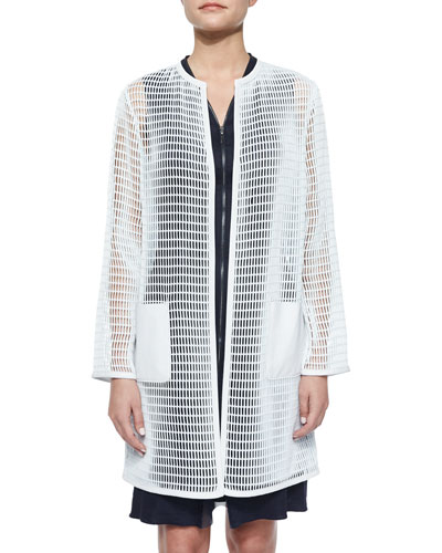 Melody Mesh Long Coat, White Mint