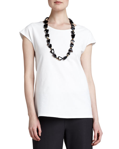 Eileen Fisher Cap-Sleeve Stretch Crepe Tunic, Petite
