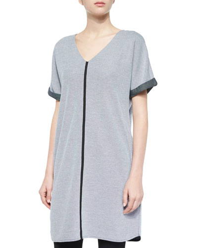 Short-Sleeve Long Pique Tunic, Petite