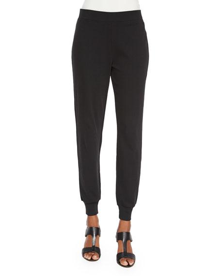 Joan Vass Cotton Interlock Jog Pants, Petite