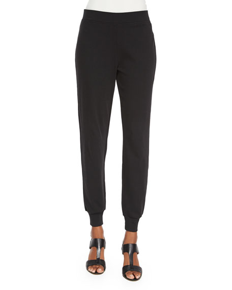 Joan Vass Cotton Interlock Jog Pants