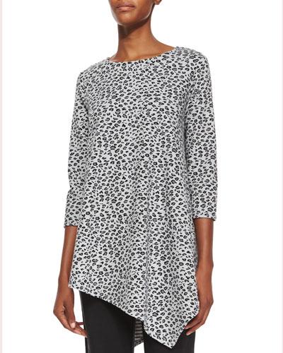 3/4-Sleeve Leopard-Print Asymmetric Tunic, Petite