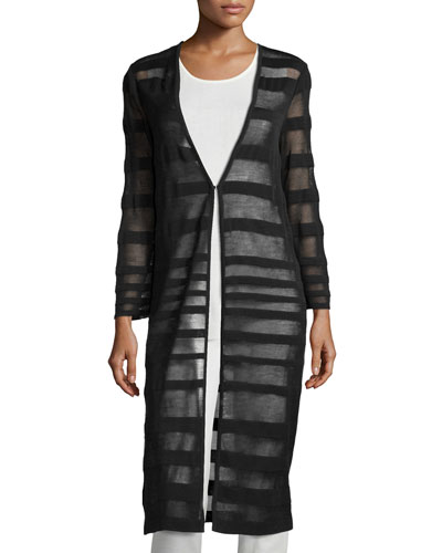 Long Striped Sheer Duster