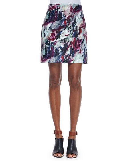 Carven Abstract-Print A-Line Skirt, Multi Colors