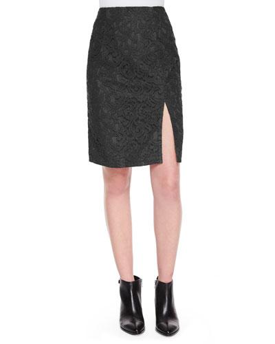 Lace Front-Slit Pencil Skirt