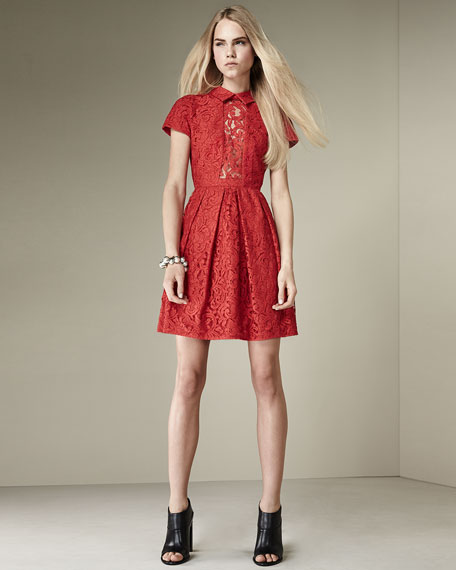 Carven Short-Sleeve Pleated Lace Shirtdress
