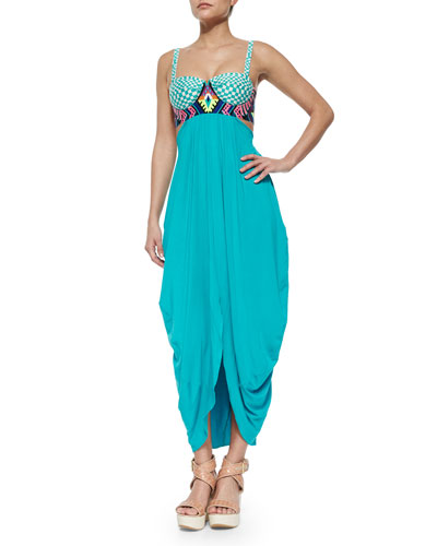 Embroidered Mixed-Print Maxi Dress, Turquoise