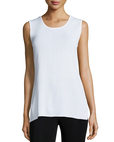 Round Sleeveless Tank, White, Women