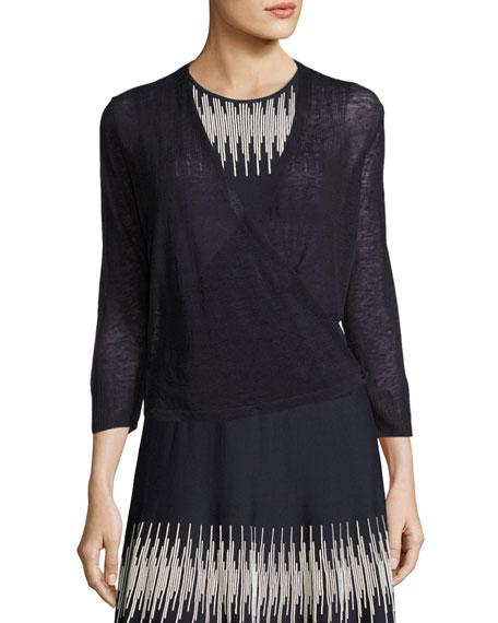 Plus Size 4-Way Linen-Blend Knit Cardigan