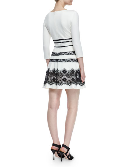 Millie 3/4-Sleeve Lace-Inset Ponte Dress, Ivory