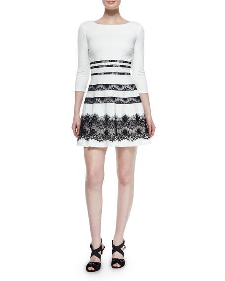 Millie 3/4-Sleeve Lace-Inset Ponte Dress, Ivory