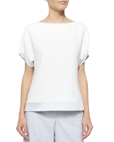 Contessa Short-Sleeve Silk Blouse W/ Contrast-Trim