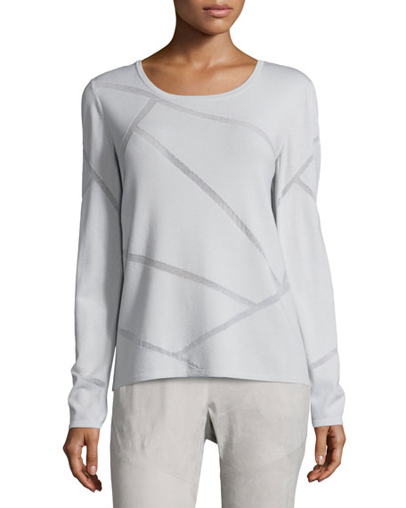 Lafayette 148 New York Long-Sleeve Mosaic Intarsia Sweater