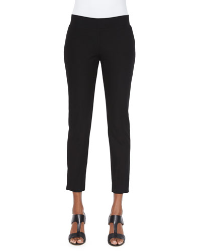 Washable Stretch Crepe Cropped Pants, Women's
