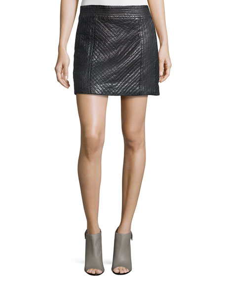 Nicole Miller Quilted Leather Mini Skirt, Black