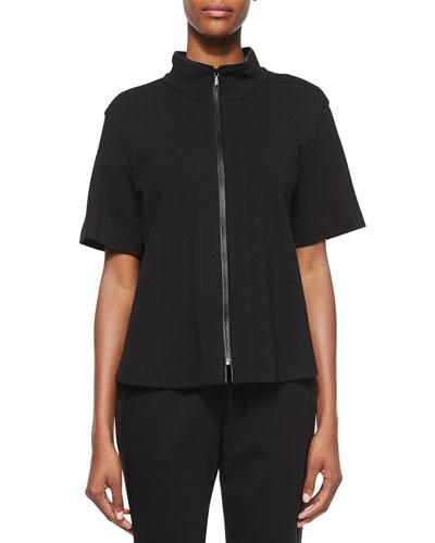Beverly Short-Sleeve Funnel-Neck Jacket, Black