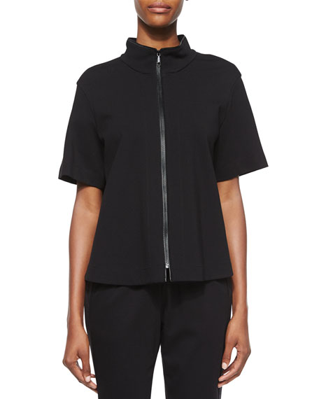 Lafayette 148 New York Beverly Short-Sleeve Funnel-Neck Jacket,