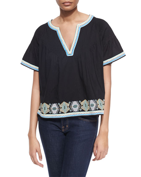 TownsenHunter Pintucked Cotton Top w/ Embroidery, Black/Multicolor