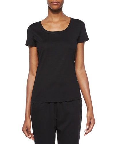 Cotton-Stretch Basic Tee, Black