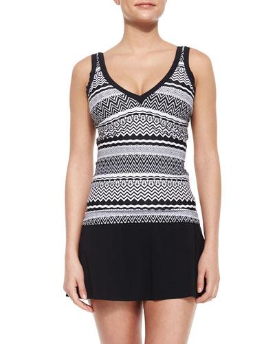 Pueblo Printed Tankini Swim Top, Black/White