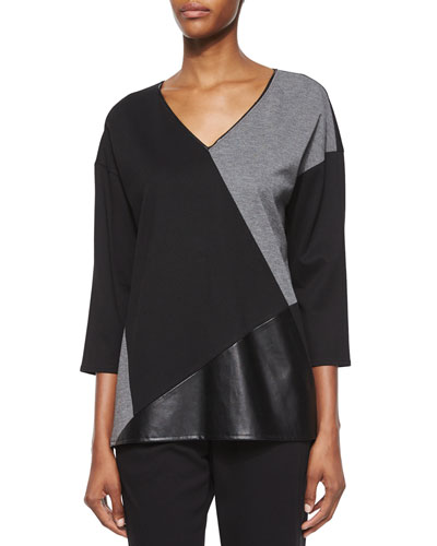3/4-Sleeve Colorblock Top