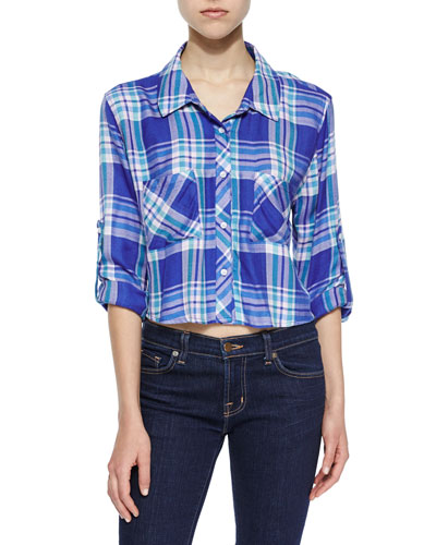 Rian Plaid Cropped Shirt, Blue-Violet