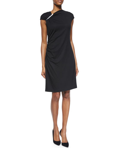 Cap-Sleeve Ruched Jersey Dress