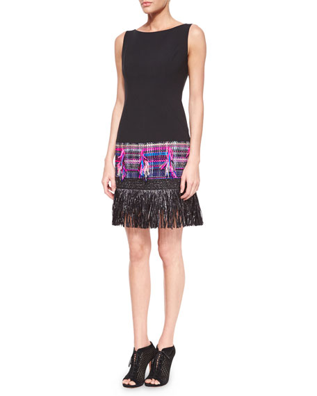 Milly Couture Tweed Fringe Dress, Multi Colors