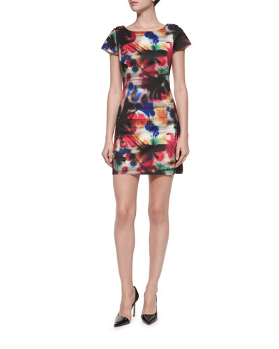 Taylor Graffiti-Print Dress, Multi Colors