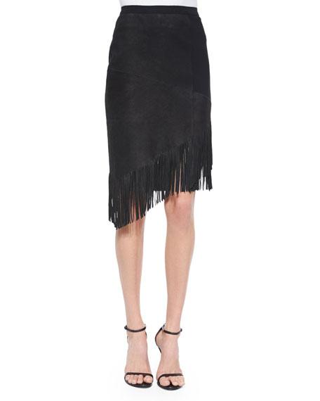 Elie Tahari Claudette Suede Skirt W/ Fringe
