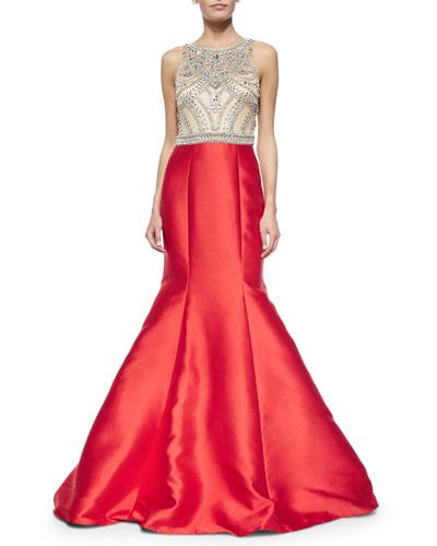 Sleeveless Jeweled-Bodice Mermaid Gown