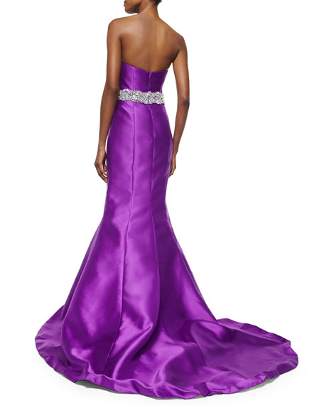Strapless Embellished-Waist Mermaid Gown