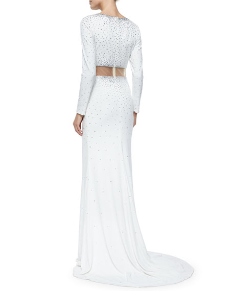 Long-Sleeve Two-Piece Illusion Gown