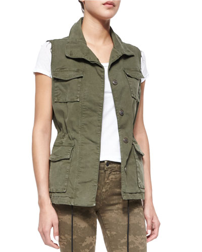 Arden Sleeveless Military Jacket, Jungle