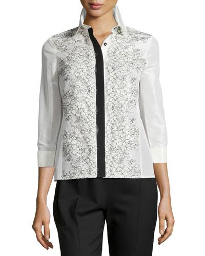 Lace-Applique Two-Tone Blouse, Ivory/Black