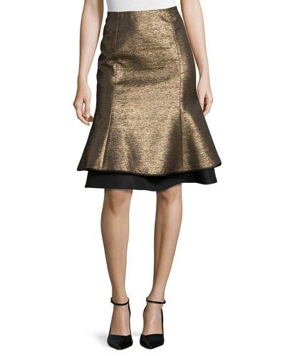 Metallic Layered Tulip Skirt, Gold