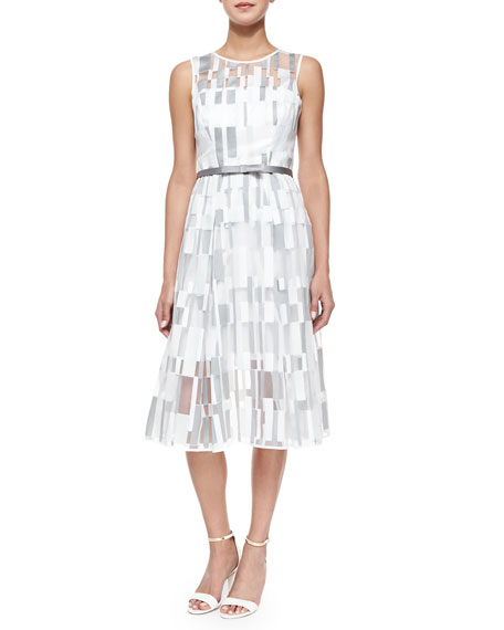Milly Sleeveless Cubist Pleated Dress