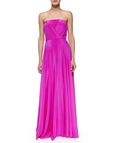 Monica Strapless Shirred-Bodice Maxi Dress