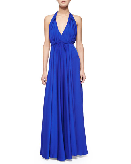 Milly Georgina Halter V-Neck Maxi Dress